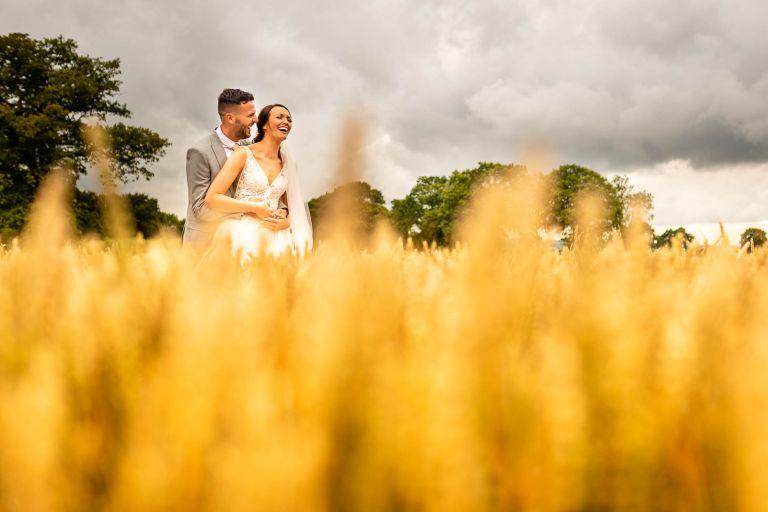 Bride and groom share a jike