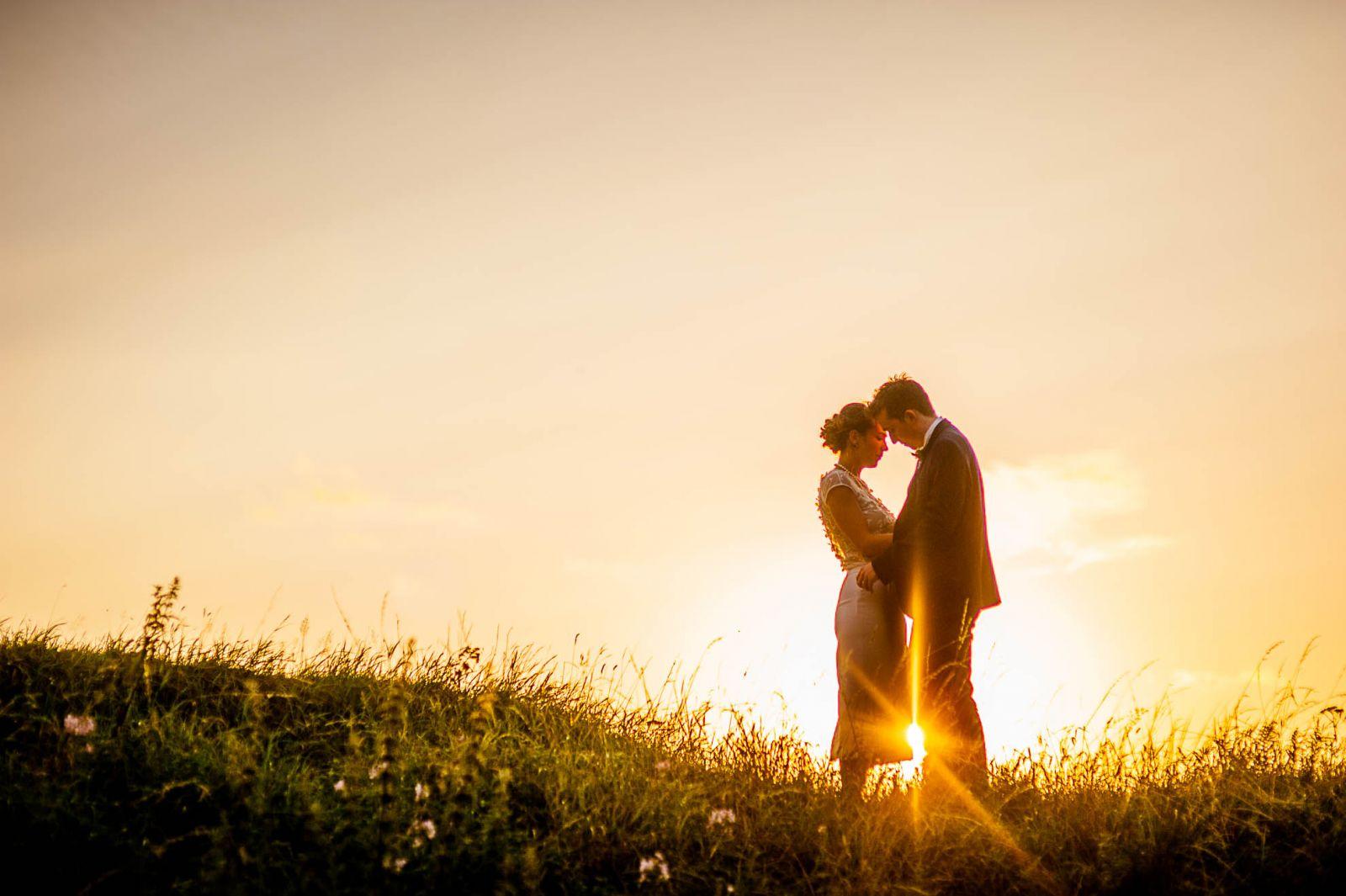 couple portrait in sunset