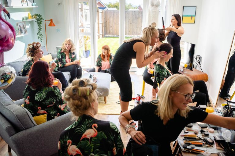 Bride gets ready with her bridesmaids