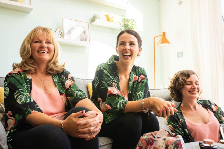 bridesmaids share a joke