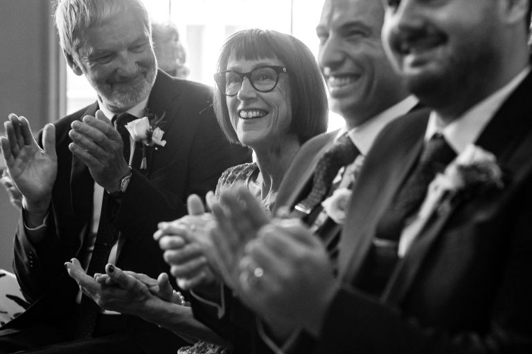 Grooms mother congratulates the newlyweds