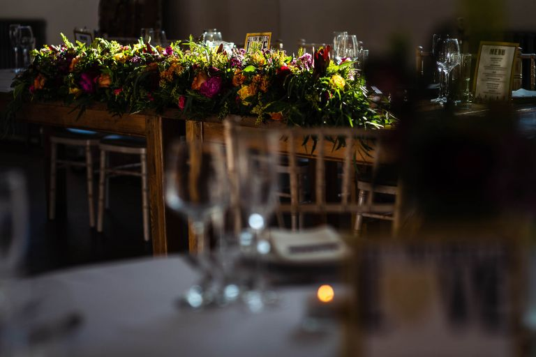 Flowers on top table