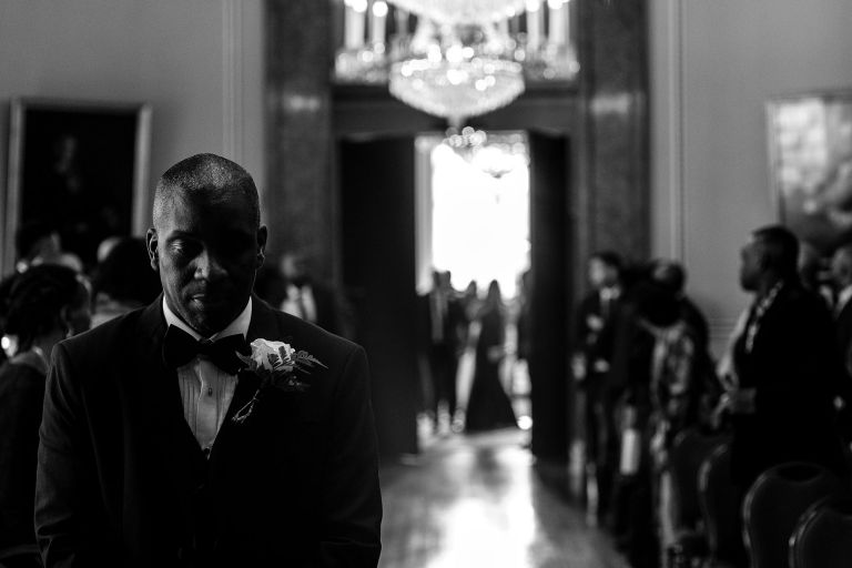 Groom waits for his bride at arrive