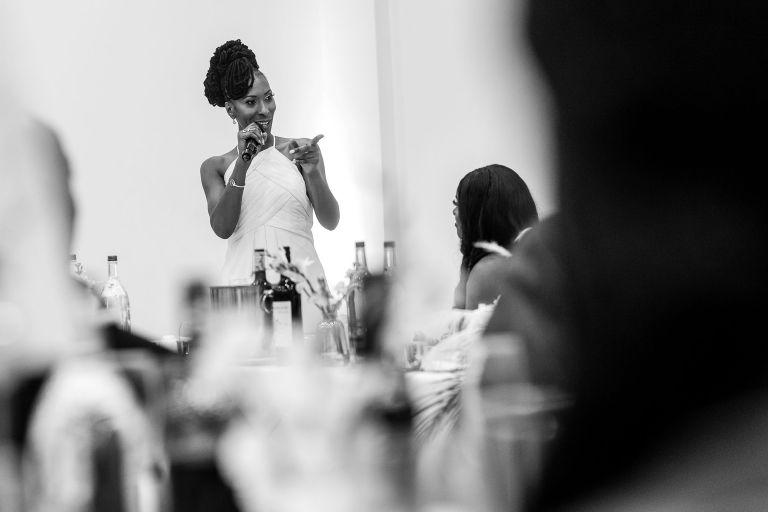 Chief bridesmaid gives speech