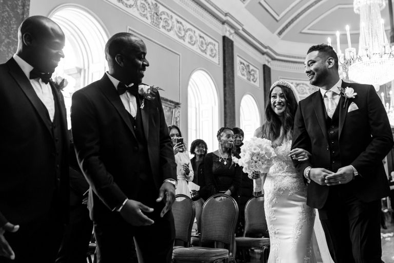 A Liverpool Groom sees his bride walking up the aisle